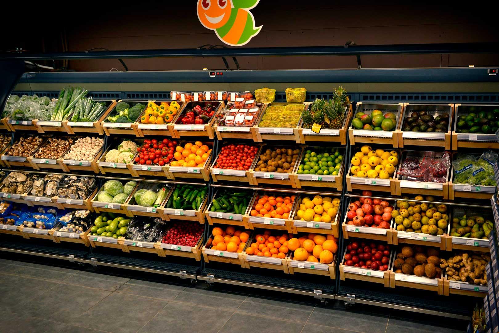 """Lady chłodnicze przeznaczone do owoców i warzyw Louisiana VF MV 110 VF O 180-DLM, supermarket """"Pchyolka-market"""""""