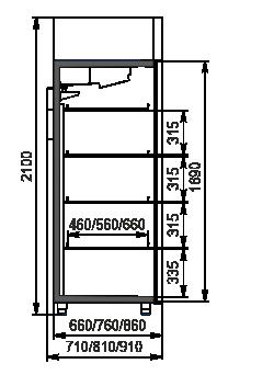 Refrigerated cabinets Kansas VAZG 066 HT 2HD 210-D1100A-132