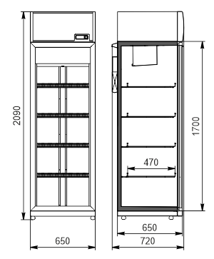 Refrigerated cabinets Kansas VА1SG 065/075 MT/HT 1HD 210-D500/D600A-065 (option)