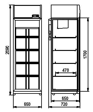 Szafy chłodnicze Kansas VА1SG 065/075 MT/HT 1HD 210-D500/D600A-065 (option)