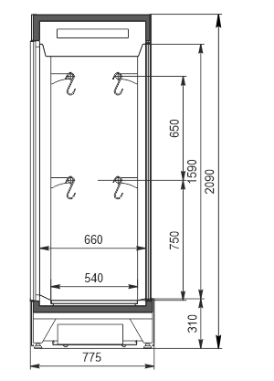 Refrigerated cabinet Kansas А4SG 078 meat 2HD 210-S1000A-135 (option)