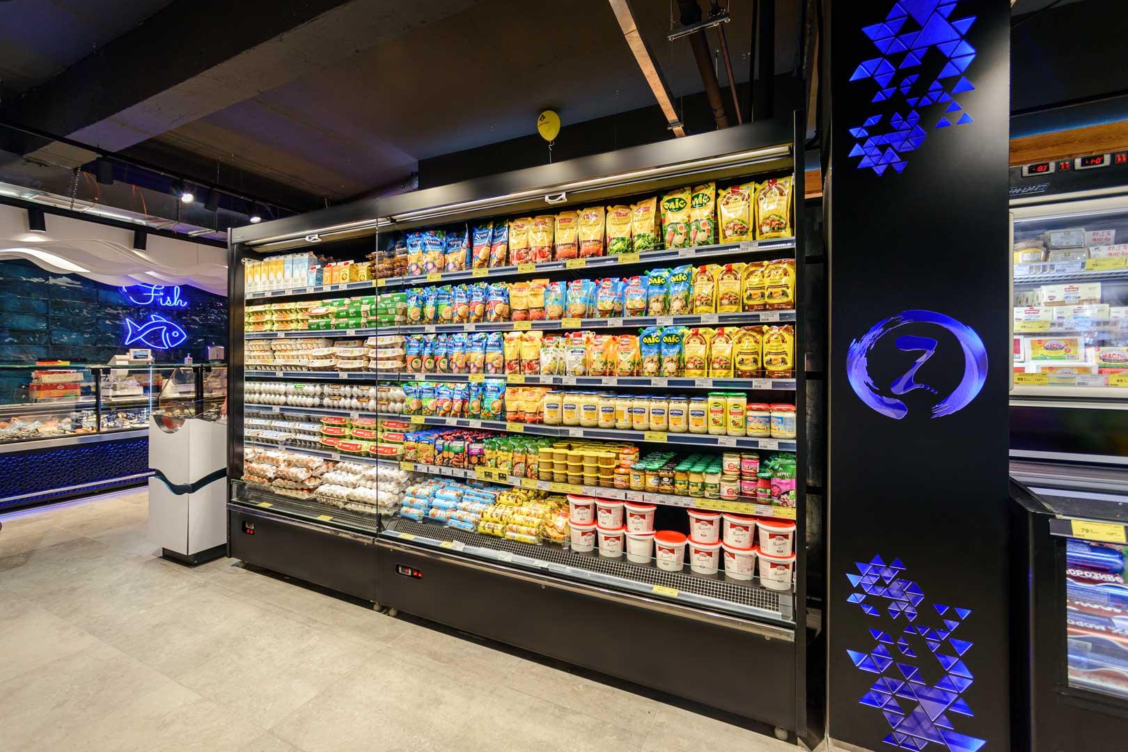 """Regały chłodnicze «Indiana medium AV 070 MT O M/А», supermarket """"Zerkalny"""" w Berdiańsku"""