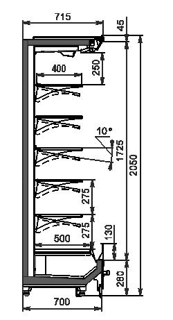 Regały chłodnicze Indiana 2 MV 070 MT O 205-DLM