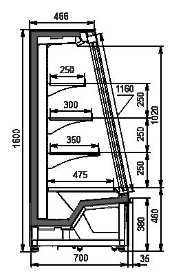 Niskie regały chłodnicze Indiana eco ASV 070 MT D 160-DLA