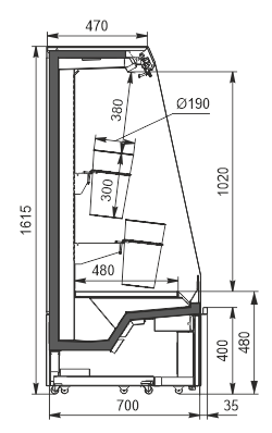 Refrigerated semi-vertical cabinets Indiana eco F ASV 070 MT O 160-DLA