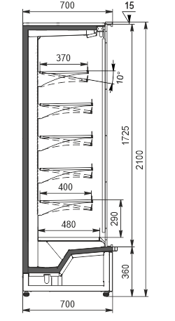 Regały chłodnicze Indiana medium AV 070 MT D 210-DLM/DLA (Model 2021)