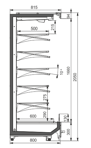 Refrigerated multideck cabinets Indiana MV 080 MT O 205-DLM