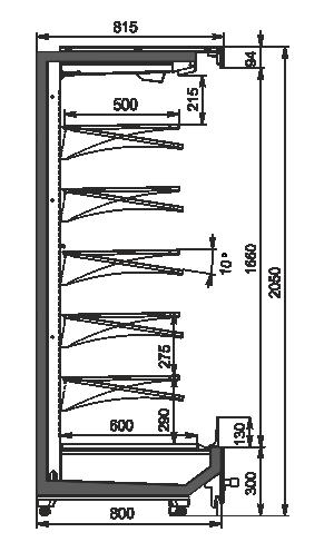 Regały chłodnicze Indiana MV 080 MT O 205-DLM