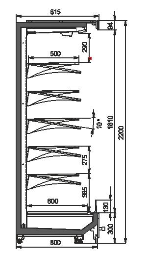 Regały chłodnicze Indiana MV 080 MT O 220-DLM
