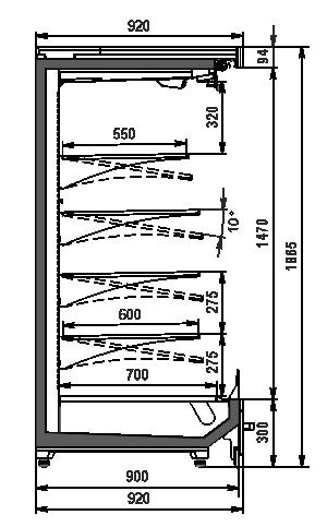 Regały chłodnicze chłodnicze Indiana MV 090 MT O 185-DLM