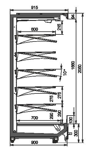 Regały chłodnicze Indiana MV 090 MT O 205-DLM