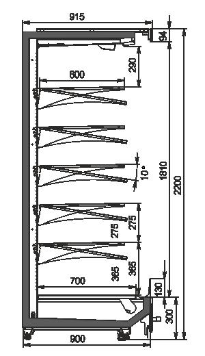 Refrigerated multideck cabinets Indiana MV 090 MT O 220-DLM