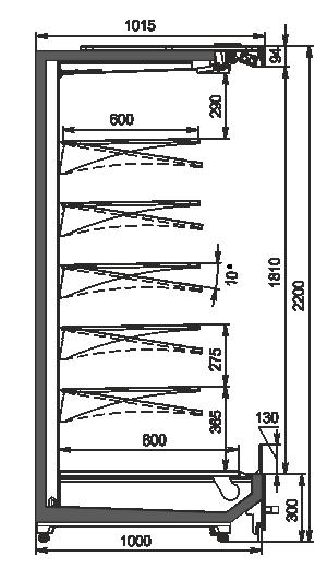 Refrigerated multideck cabinets Indiana MV 100 MT O 220-DLM
