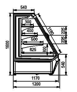 Niskie regały chłodnicze Louisiana eco ASV 115 MT D 160-DLA