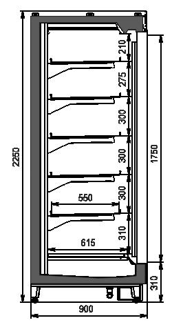Regały chłodnicze Louisiana MV 090 LT D 225-DLM