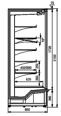 Multideck cabinet Indiana medium AV 085 MT D 210-DLM/DLA (option)