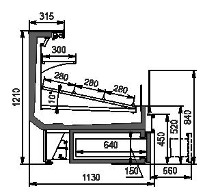Refrigerated counters Missouri cold diamond MC 115 cascade VF self 121-DBA (option)