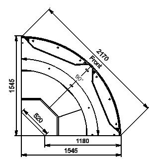 Angular elements of refrigerating counters Missouri MC 120 deli PS/self 130/086-DLM-ER90