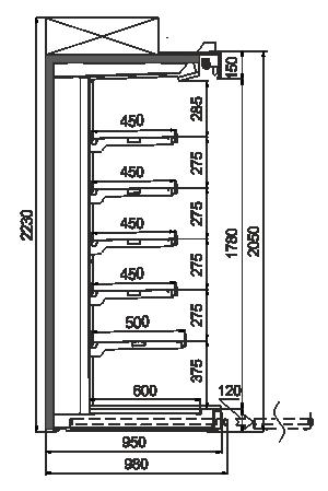 Multideck cabinet Louisiana ULF AV 095 AT O A