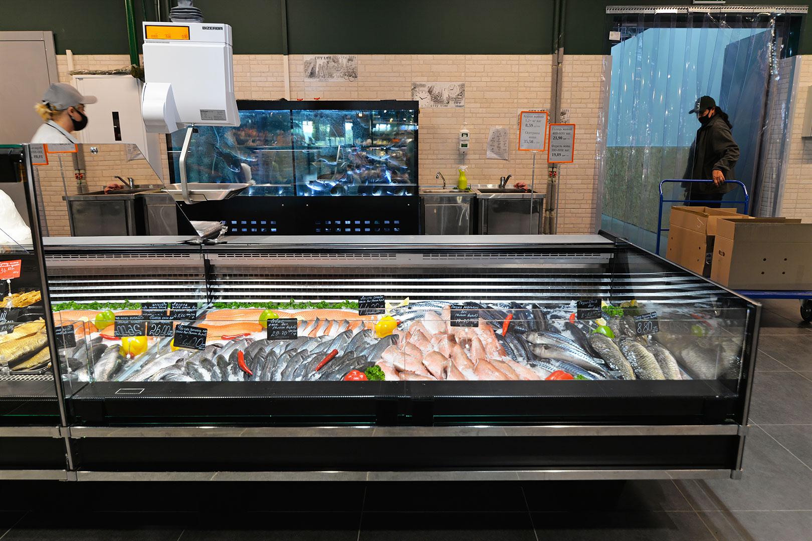 Specjalistyczne witryny dla sprzedaży ryb i owoców morza Missouri cold diamond MC 126 fish self 084-SLM