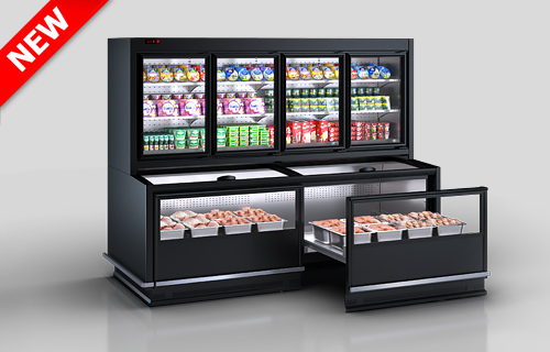 Połącz szafę chłodnicze Alaska combi MHV 110 MT D/C 200-DLM (otwarty widok układu towarów )