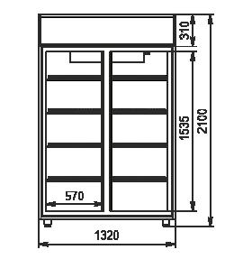 Refrigerated cabinets Kansas VA1SG 075 HT SD 210-D1200A-132