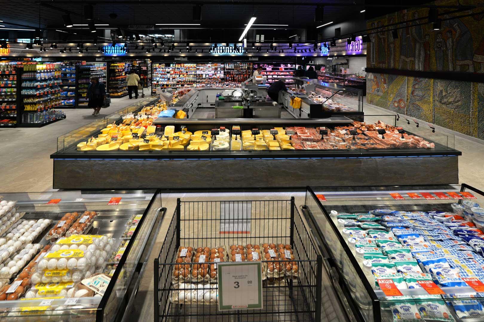 """Refrigerated counters Virginia AK 115 deli self, Missouri MC 120 deli self 086, supermarket """"Semya"""""""