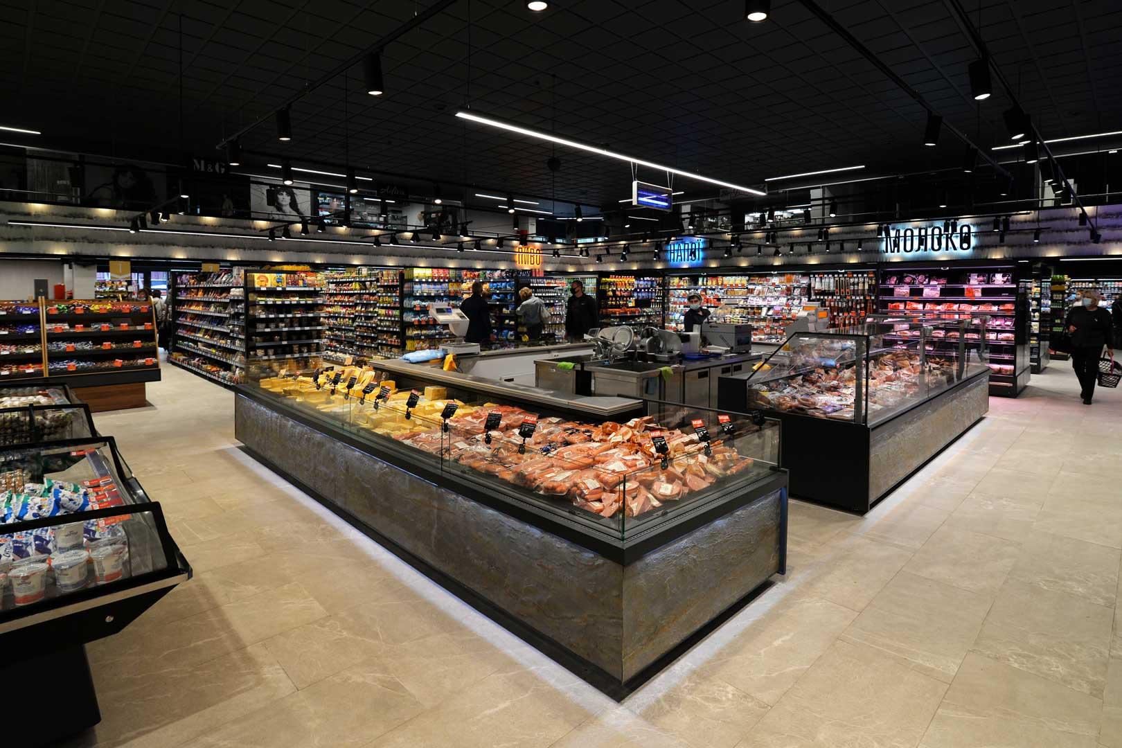 """Refrigerated counters Мissouri MС 120 deli PS 130, Missouri MC 120 deli self 086, supermarket """"Semya"""""""
