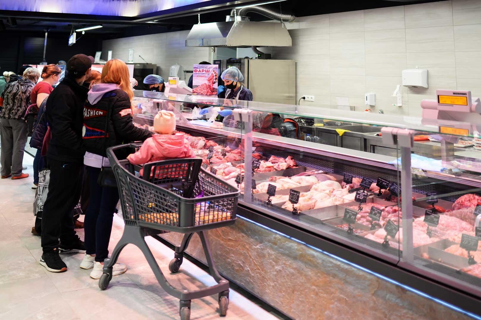 "Refrigerated counters Мissouri MС 120 deli PS 130, supermarket ""Semya"""