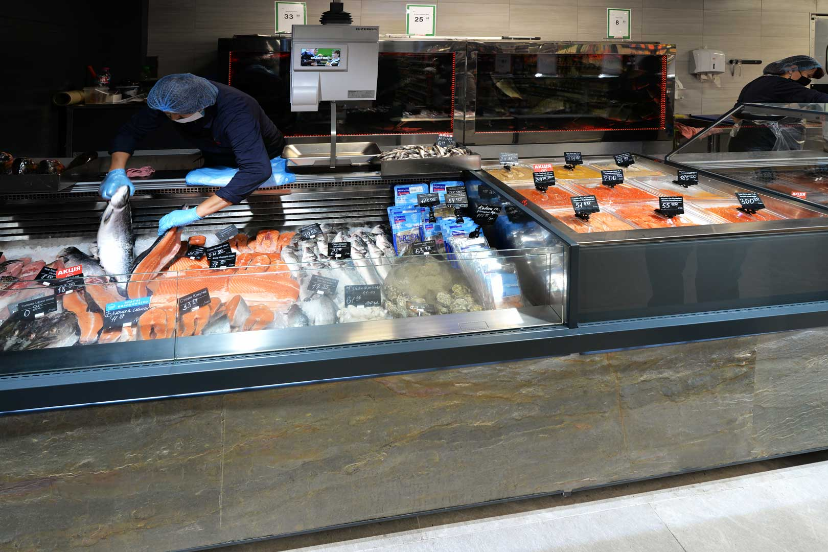 "Refrigerated counters Мissouri MС 120 deli PS 130, Missouri AC 120 ice self, Мissouri MC 120 deli self 086, supermarket ""Semya"""