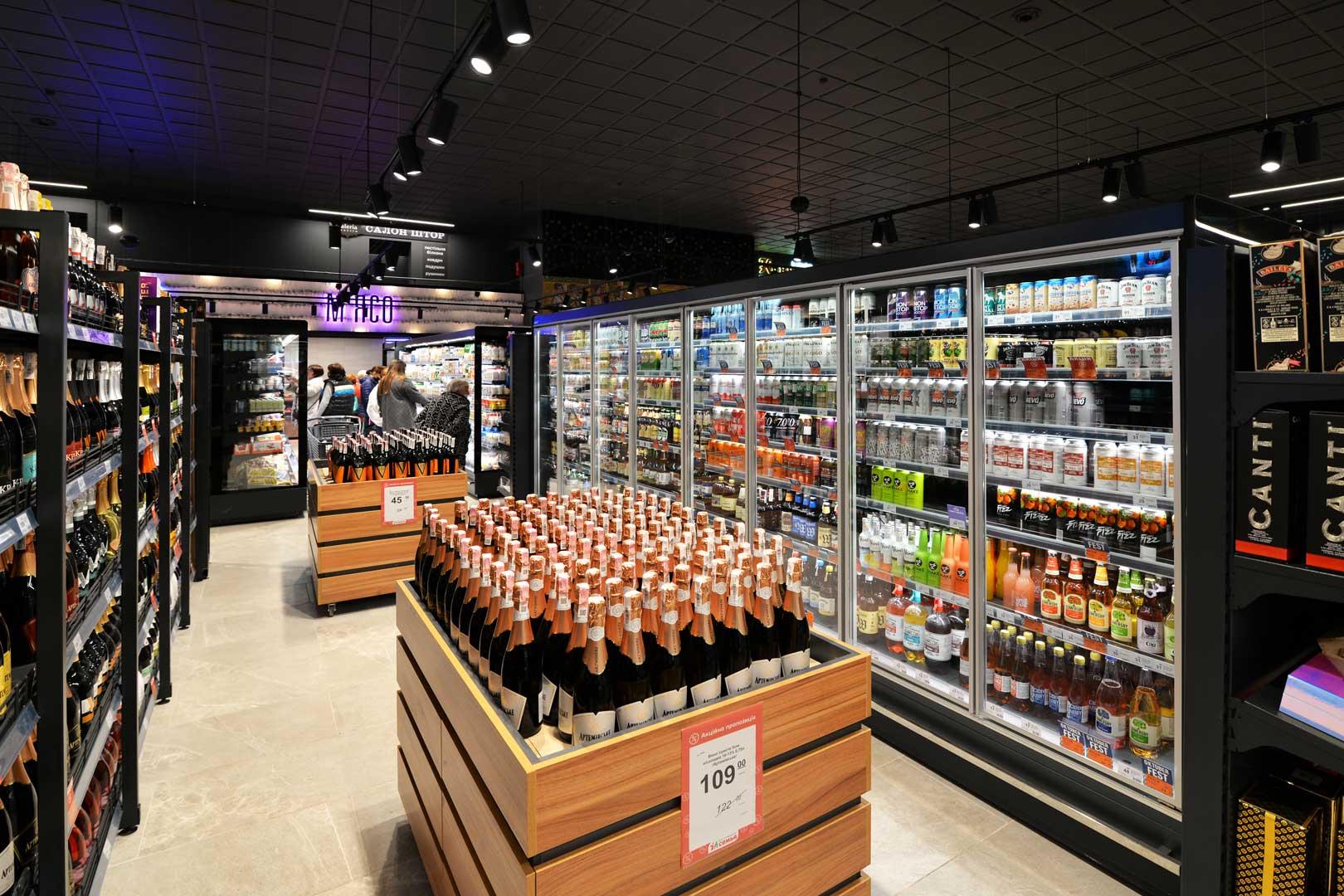 "Refrigerated multideck cabinets Indiana MV 080 MT D 205, supermarket ""Semya"""